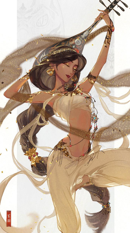 中国绘师《穿汉服的迪士尼公主》,飘逸的丝绸就像仙女下凡!